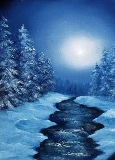Snowy winter mountain stream on moonlight night Water Pictures, Water Pics, Feeling Heartbroken, Winter Mountain, Canvas Board, Sculpture Clay, Painted Rocks, Moonlight, Art Work