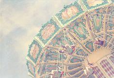 Carnival Swing Ride Photo Art Print Pink Green by CharlenePrecious.