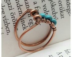 Minimalist ring turquoise, wire wrapped ring, turquoise ring, copper ring, wire ring, woven ring, blue stone ring, turquoise jewelry #wirewrappedringsband #wirewrappedringsstones
