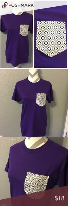 ✨CUSTOM DESIGN✨ Modern Purple Front Pocket Tee Custom Design Front Pocket Tee!   Hand sewn by me! Feel free to ask any other question!   ***I take custom order requests for pocket tees***  Measurements:  Armpit to armpit completely around - 36 inches Length from shoulder seam down - 26 inches  Length of sleeves from shoulder seam - 6 inches Waist completely around is - 37 inches Gildan Tops Tees - Short Sleeve