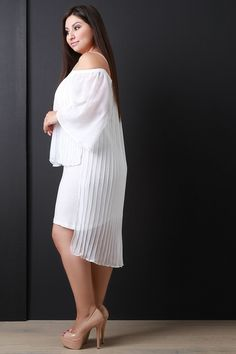Off-The-Shoulder Pleated Chiffon Popover Dress