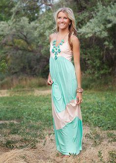 Light Jade and Peach Chevron Spaghetti Strap Maxi Dress-  Modern Vintage Boutique