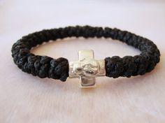 Black Cotton Prayer Rope Bracelet for Children 28 by BYZANTINO