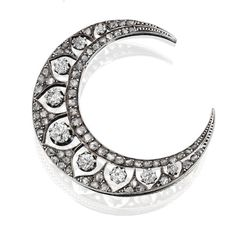 A diamond crescent brooch, French, c. 1900
