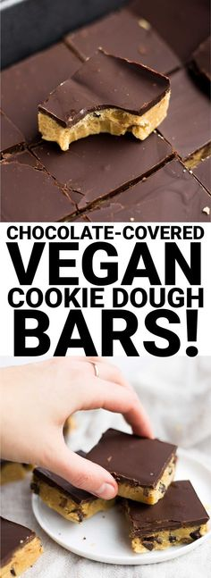 Chocolate-Covered Vegan Cookie Dough Bars - Fooduzzi - Chocolate-Covered Vegan Cookie Dough Bars: A super easy recipe, & perfect for Valentine's Day! This no-bake dessert is gluten free, vegan, and full of healthy ingredients. Vegan Treats, Vegan Foods, Vegan Dishes, Paleo Vegan, Vegan Life, Cookie Dough Bars, Vegan Cookie Dough, Cookie Mixes, Cookies Vegan