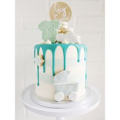 Babyshower Cake; Buttercream Cake Light Blue And Mint Green Drip With  Decorated Cookies And Handlettering Hey Baby Sign