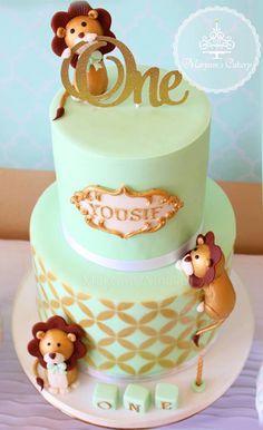 Beautiful Baby Lion Birthday Cake from an Elegant Baby Lion Birthday Party via Kara's Party Ideas | KarasPartyIdeas.com (19)