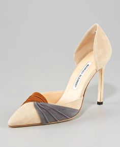 Manolo Blahnik Ruched Suede Point-Toe d'Orsay
