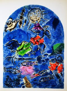 "Tribe of Reuven. Marc Chagall Jerusalem Windows.  Then Jacob called his sons, and said: ""Gather around, that I may tell you what will happen to you in days to come. Assemble and hear, O sons..."