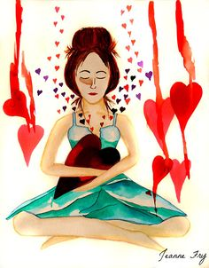 Warrior Woman - Tend to your Heart - Original Watercolor Painting 11x14 Woman holding Heart in her Arms - Day 13 of Warrior Woman series