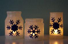 Windlichter Schneeflocken Weihnachten basteln selber machen DIY Anleitung dunkel 2