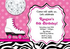 Roller Skate Invitation Girls Roller Skating by jcsaccents on Etsy