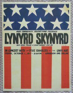 Lynyrd Skynyrd Handbill 1971 - One Dollar Admission! Signed by Artist