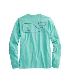 Long-Sleeve Vintage Whale Graphic Pocket T-Shirt - M