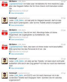 #bahn #toilettenservice #twitter #vorbildlich #kundenkommunikation