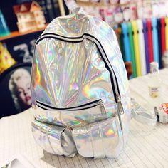 Holographic Backpack Hologram Rainbow Shine Tumblr 90s Retro Bag    Holographic   Bags, Backpacks, Handbags 11d52f19bd