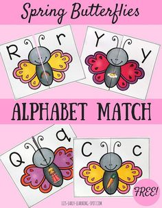 Match upper case and lower case letters with these free spring butterfly puzzles.