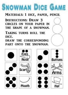 This snowman dice game printable fits easily inside your purse or diaper bag. It needs paper, pencil, and dice. Perfect for on the go! Christmas Games For Family, Christmas Party Games, Christmas Crafts For Kids, All Things Christmas, Winter Christmas, Christmas Ideas, Holiday Ideas, Xmas, Christmas Foods