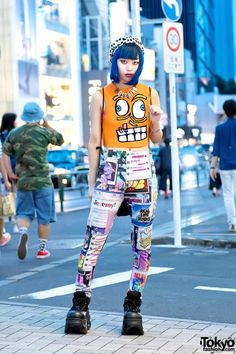 Blue-haired Harajuku Girl w/ Jeremy Scott, Moschino, Michiko London & Demonia http://spotpopfashion.com/j61v
