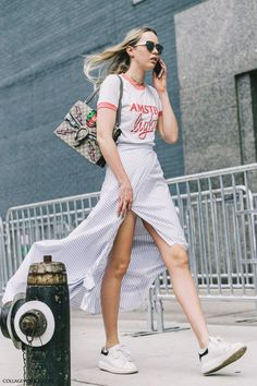 ready for spring: vintage tee + wrap maxi skirt + sneakers