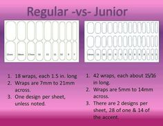 Regular vs. Junior Jamberry wraps https://clairekelly.jamberrynails.com.au