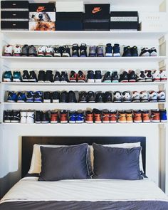 This next level sneaker display above the bed.