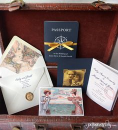 Come Away With Me Passport Wedding Invitation by PaperTruly