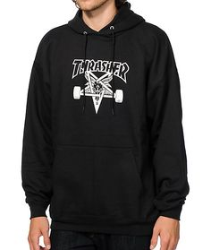 "Grab a fresh skate style with an iconic white Thrasher Skategoat logo graphic at the chest of a black colorway and a fleece lining for soft comfort. Checkout all the other <a href=""http://www.zumiez.com/catalogsearch/result/?category=hoodies--sweatshirts"
