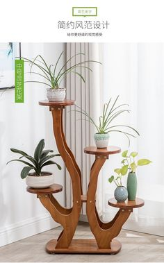Plant Shelves Outdoor, Simple Tv, Flower Stands, Plant Decor, Potted Plants, Wall Design, Planter Pots, Wood, Home Decor