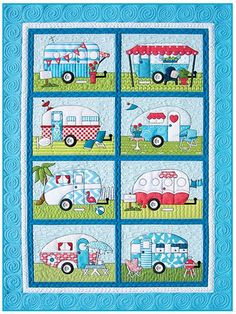 Camper's Quilt Pattern -- Love the large white button used to make whitewall tires.