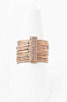 14K PAVE DIAMOND BRICK MULTI HAMMERED WAIF RING – Jacquie Aiche
