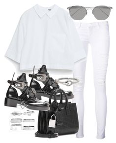"""""""Untitled #20028"""" by florencia95 ❤ liked on Polyvore featuring Frame Denim, Linda Farrow, Yves Saint Laurent, Acne Studios and Boohoo"""