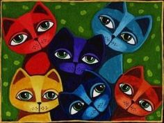 Image Detail for - FOLK ART CATS FULL O TROUBLE PAINTED NEEDLEPOINT CANVA