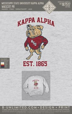 Kappa Alpha Order Mascot Sweatshirt PR | Fraternity Event | Greek Event #kappaalphaorder #kappaalpha #theorder #msstate #bulldogs Kappa Alpha Order, Mississippi State, Greek Clothing, Fraternity, Bulldogs, Feelings, Sweatshirts, Greek Outfits, Trainers