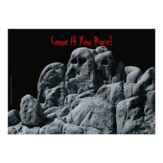 Halloween Ghostly Rocks Invitation - My photograph of ghostly rocks decorates the front of this fun Halloween Party Invitation. The reverse has white lettering on a black background. Some of the text is blood red. You can easily change any of the text to personalize it. Matching postage stamp is zazzle item 172687757995328852. Original photograph by Marcia Socolik. All Rights Reserved © 2014 Alan & Marcia Socolik. #Halloween #Ghosts #HalloweenParty