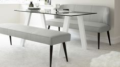 Zen and Cool Grey Mellow Bench 6 Seater Glass with White Gloss Dining Set from Danetti