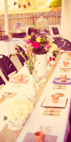 Shabby Chic Bridal Shower Banquet Tables Vintage Vases Teapots Kristen Archer photography getarchd
