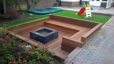 Outdoor sunken seating area with fire pit