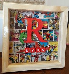 Personalised Marvel Avengers Superhero Wooden Box Frame name