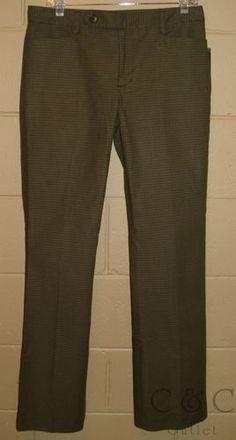 Ralph Lauren NEW Adelle Olive Houndstooth Slimming Modern Fit Dress Pants 8 505