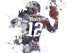 Tom Brady ART PRINT illustration, New England Patriots, NFL, Mixed Media, Home Decor, Sport