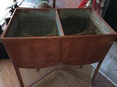 sale old galvanized double wash tub washtub with original lid antique wash tub vintage. Black Bedroom Furniture Sets. Home Design Ideas