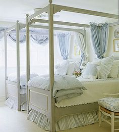 Guest room: how do you soften beautiful wood bed frames? lots of fluffy fabric! This room is a beautiful balance in contrast. Girls Bedroom, Guest Bedrooms, Bedroom Decor, Shabby Bedroom, White Bedrooms, Shared Bedrooms, Design Bedroom, Bedroom Furniture, Do It Yourself Design