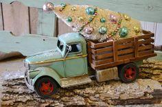 Teal Blue Vintage Truck by SassyVintageBarn on Etsy, $39.99