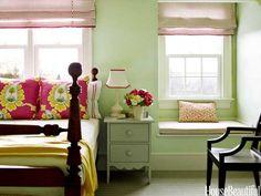 Soft green bedroom. Design: Katie Ridder. housebeautiful.com. #green #bedroom #color #green_bedroom
