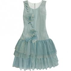 Isobella & Chloe Big Girls Aqua Uptown Glam Drop Waist Dress 7-14