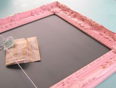 A super shabby pink framed magnetic chalkboard. It is framed in an ornate detailed vintage inspired frame. You can pick between magnetic and non magnetic to best fit your needs. It is also available in many sizes.  ***4 Magnets are included of your choice- Bright colored fabric buttons, mini clothes pins, or scrabble tile. Just mention in the note to seller box when you pay. Also if you would like more just send me a message…