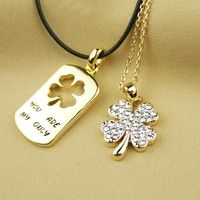 Vancaro Women's Fashion Necklaces Unique Fashion Four-leaf Clover Crystal Alloy Plated Gold Lover's Necklaces
