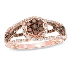 1/2 CT. T.W. Enhanced Cognac and White Diamond Swirl Ring in 10K Rose Gold - View All Rings - Zales