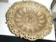 "VTG VICTORIAN GILT SPELTER METAL ITALIAN/FRENCH CHERUB PUTTY 10""PLATE ORNATE RIM"